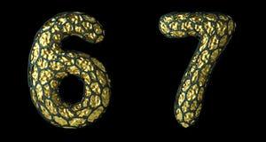Number set 6, 7 made of realistic 3d render golden shining metallic. stock photo