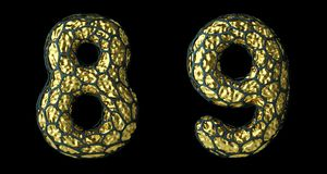 Number set 8, 9 made of realistic 3d render golden shining metallic. stock images