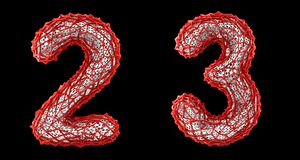 Number set 2, 3 made of red plastic 3d rendering stock photo