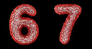Number set 6, 7 made of red plastic 3d rendering royalty free stock photo