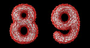 Number set 8, 9 made of red plastic 3d rendering royalty free stock photo