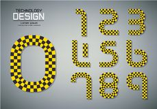 Number set of numbers checkered flag concept. Number set of numbers Logo or icon, checkered flag concept, vector illustration Royalty Free Stock Images