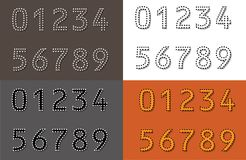 4 Number set outline dotted strokes with diagonal lines back numbers on 4 colorful backgrounds. Dotted linear strokes number pack collection Stock Images