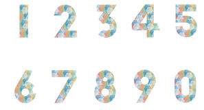 Set of number. With polygonal pattern Royalty Free Stock Images