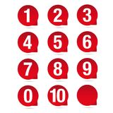 Number set red vector label. Set Stock Photography