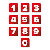Number set square red Stock Image
