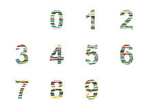 Number set. Vector illustration with color lines Royalty Free Stock Photo