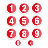 Number set vector label. Red Royalty Free Stock Photo