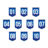 Number set vector ribbon. Blue Stock Images