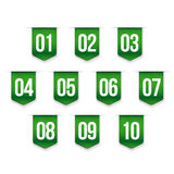 Number set vector ribbon. Green Stock Images
