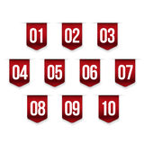 Number set vector ribbon. Red Stock Photo