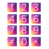 Number set vector square Stock Photos