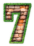 Number seven. Made of grass and stone Stock Illustration