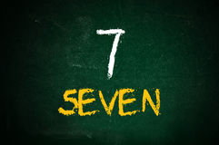 Number seven. Handwritten  with a chalk on a green chalkboard Royalty Free Stock Photos