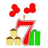 Number Seven Candle Shows Cupcakes Balloons Royalty Free Stock Image