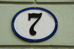 Number seven. Chunky number seven on wall on building in Linz, Austria Royalty Free Stock Photos