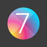 Number seven colorful button Royalty Free Stock Photos