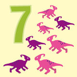 Number 7. Seven dinosaur (Parasaurolophus). Royalty Free Stock Photo