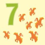 Number 7. Seven dinosaur (Pterodactyl). Royalty Free Stock Photos