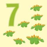 Number 7. Seven dinosaur (Stegosaurus). Stock Photography
