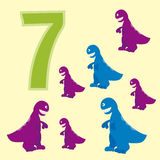 Number 7. Seven dinosaur (Tyrannosaurus). Royalty Free Stock Photo