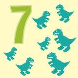 Number 7. Seven dinosaur (Tyrannosaurus). Royalty Free Stock Photography