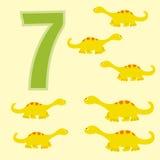 Number 7. Seven dinosaurs (Diplodocus). Stock Photos