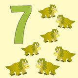 Number 7. Seven dinosaurs (Triceratops). Stock Photography