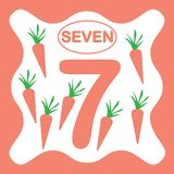 Number 7 seven, educational card, learning counting. With vegetables, mathematics. Vector illustration royalty free illustration