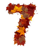 Number seven with fall leaves isolated Stock Photo