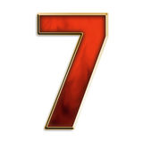 Number seven in fiery red. Number 7 in fiery red & gold isolated on white series Royalty Free Stock Images