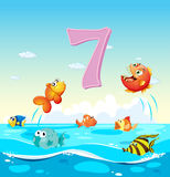Number seven with 7 fish in the ocean. Illustration Royalty Free Stock Photography