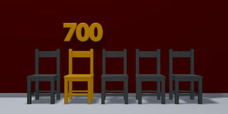 Number seven hundred and row of chairs Royalty Free Stock Image