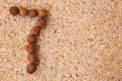 The number seven 7 made out of fruit lichee Royalty Free Stock Photography