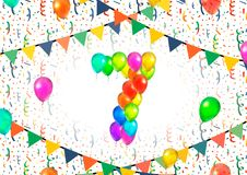 Number seven made up from colorful balloons on white background with confetti. Number seven made up from bright colorful balloons on white background with Royalty Free Stock Images