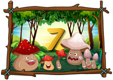Number seven with 7 mushrooms in the forest stock illustration