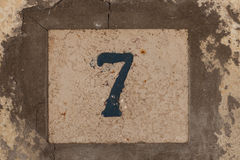 Number seven. Old house of number seven Royalty Free Stock Images