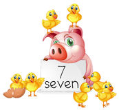 Number seven with pig and chicks royalty free illustration
