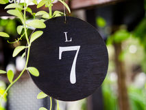 Number seven plate of table in restaurant Royalty Free Stock Photos