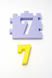 Number seven puzzle mats. Focus on the front (small DOF) Stock Photo