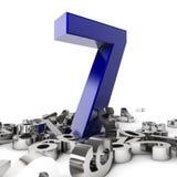 Number Seven. Render of a  blue number seven Stock Image