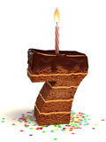 Number seven shape birthday cake Stock Photos