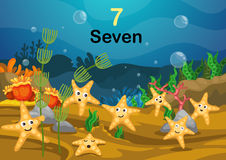 Number seven star fish under the sea vector. Illustration of number seven star fish under the sea vector Stock Images