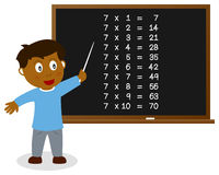 Number Seven Times Table on Blackboard Stock Photos