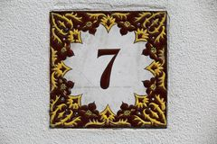 Number Seven Wall Tile Stock Photos