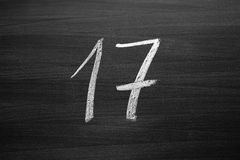 Number seventeen enumeration written with a chalk Royalty Free Stock Image