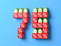 Number Seventy Five With Miniature Houses And Red Percentage Blocks. 3d Illustration vector illustration