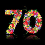 Number seventy made from fruits. Royalty Free Stock Images