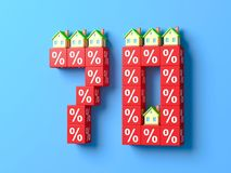 Number Seventy With Miniature Houses And Red Percentage Blocks. 3d Illustration royalty free illustration