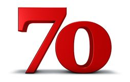 Number seventy. On white background - 3d rendering Royalty Free Stock Photos